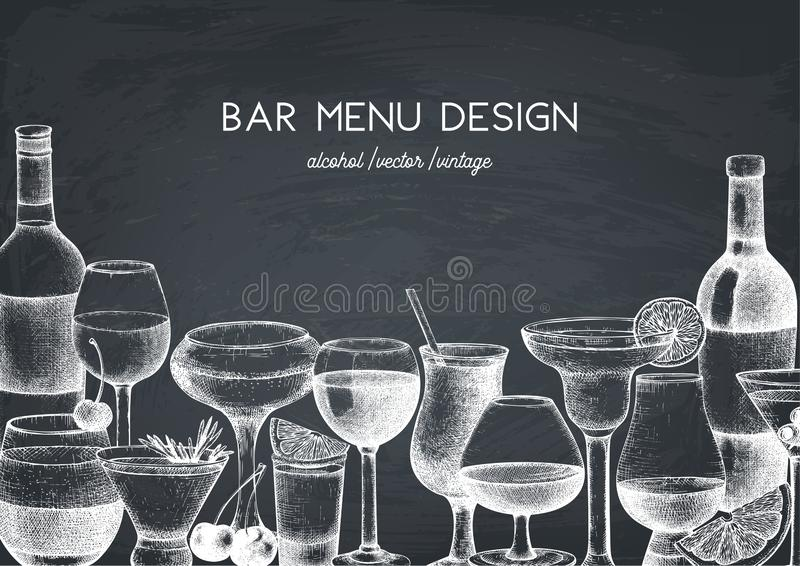 Vector design with hand drawn drinks illustration. Vintage beverages sketch background. Retro template isolated on chalkboard. Res. Vector design with hand drawn stock illustration