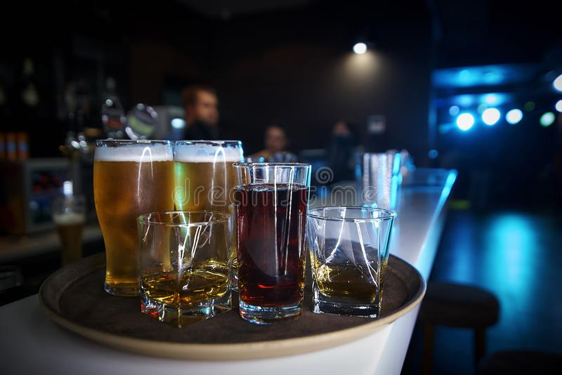 Drinks on the tray. Are on the bar royalty free stock photos