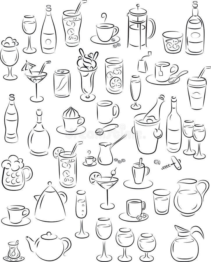 Drinks. Vector illustration of beverage collection in black and white vector illustration