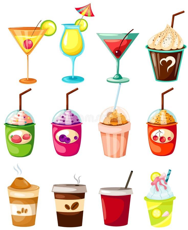 drinkset royaltyfri illustrationer