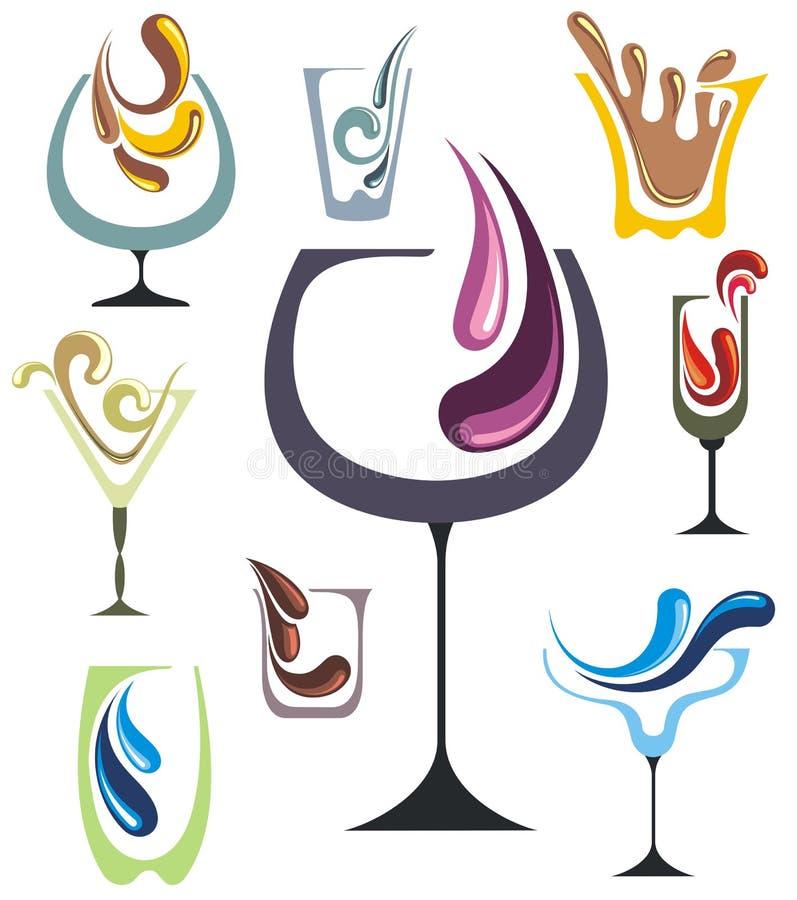 Drinksymbolsuppsättning royaltyfri illustrationer
