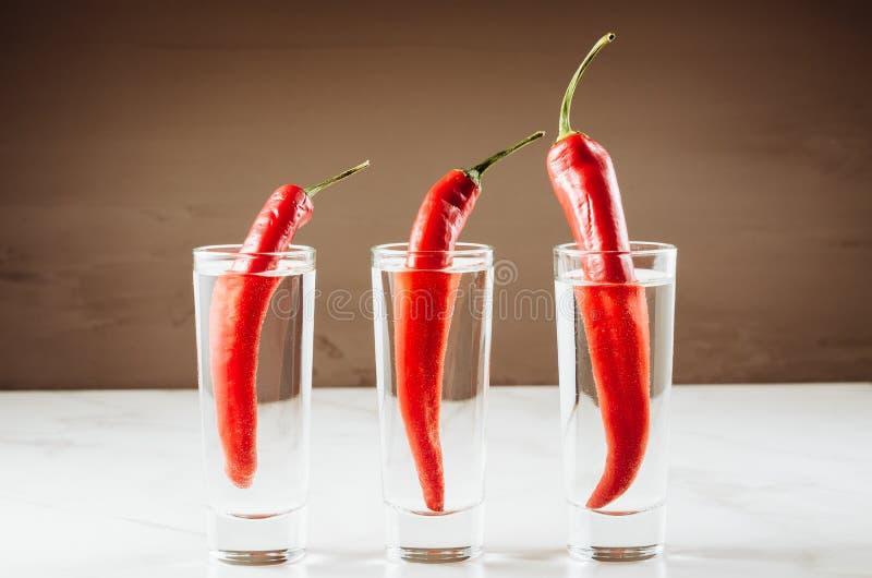 Drinkuppsättning med tre skott av vodka och röd peppar/drinkuppsättning med tre skott av vodka och röd peppar Selektivt fokusera royaltyfri foto
