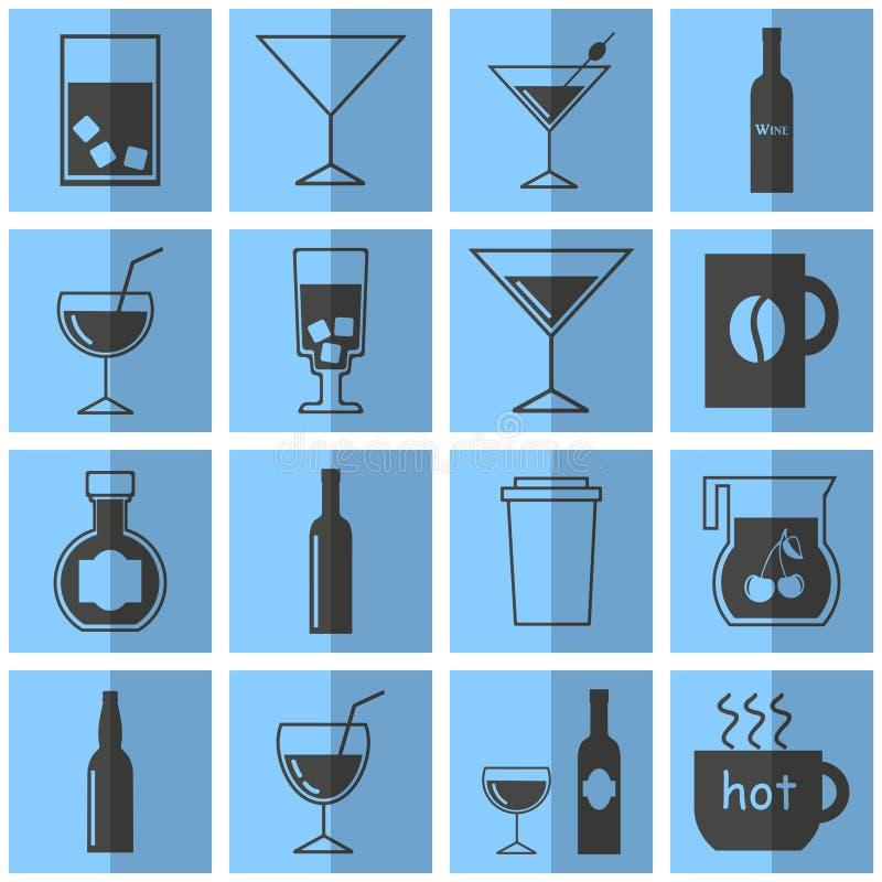 Drinkvektor Plana symboler Blåa drycksymboler för grå färger royaltyfri illustrationer