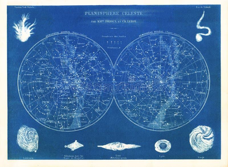 Drioux 1882 & Leroy Planisphere Celeste: Norr och söderstjärnadiagram royaltyfri illustrationer