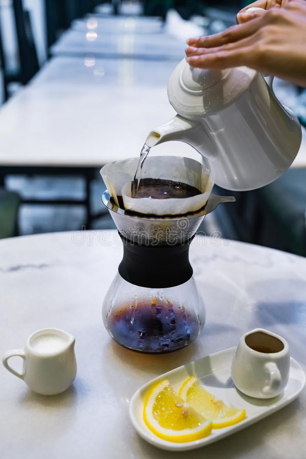 Drip brewing, filtered coffee stock photography