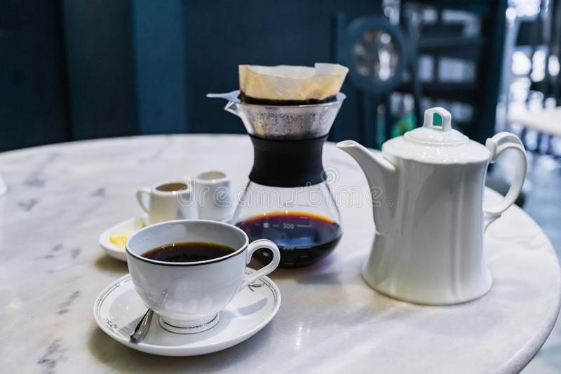 Drip brewing, filtered coffee stock photo