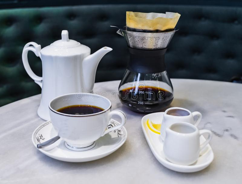 Drip brewing, filtered coffee royalty free stock photo