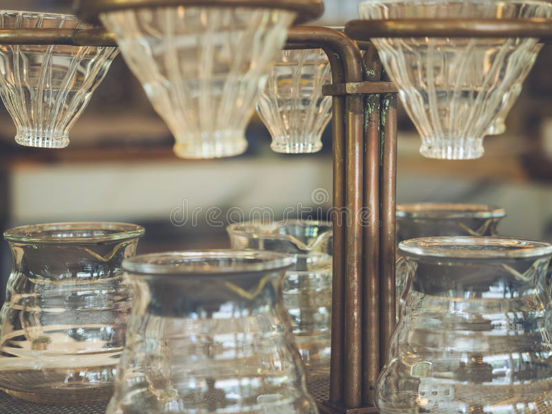 Drip coffee glass Vintage style royalty free stock photo