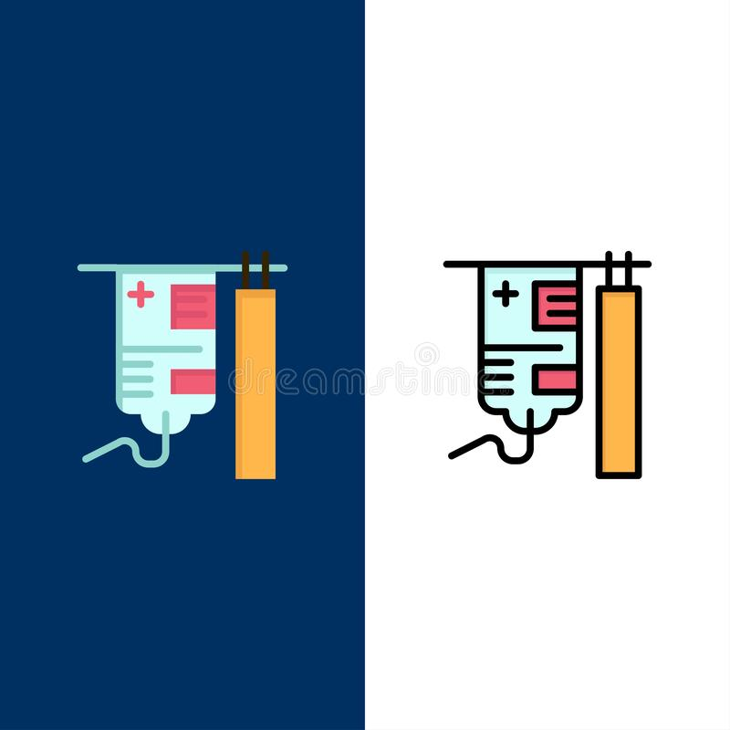 Drip, Hospital, Medical, Treatment  Icons. Flat and Line Filled Icon Set Vector Blue Background royalty free illustration