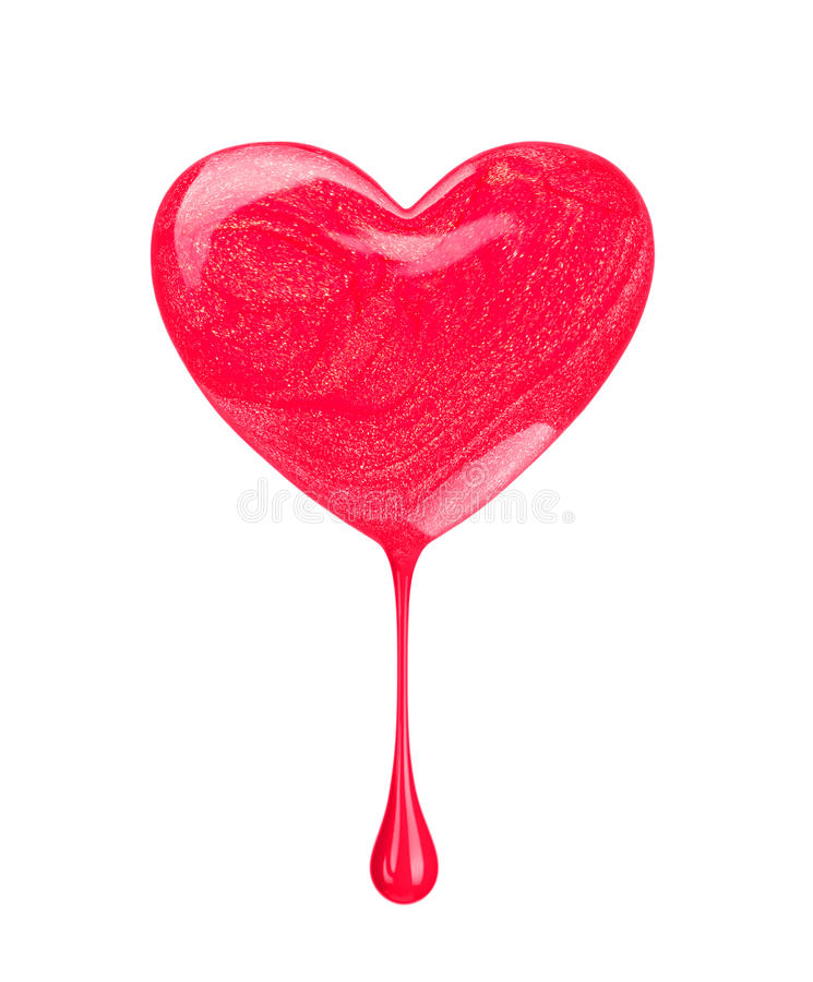 Drip of nail polish in the form of heart isolated on white. Background royalty free stock photography