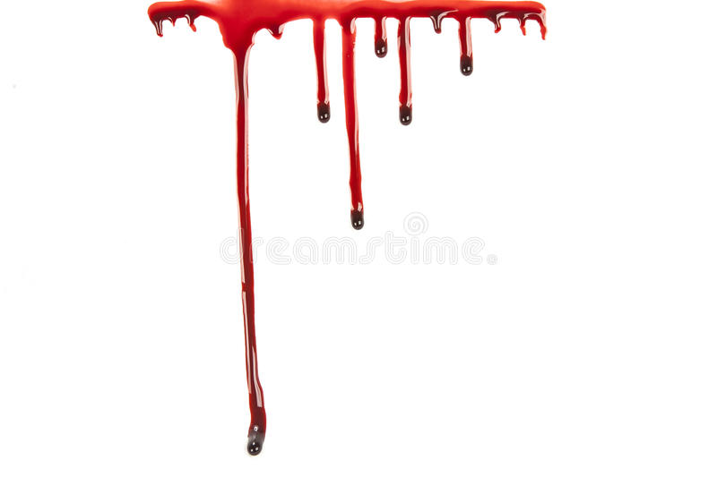 Dripping blood isolated on white royalty free stock image