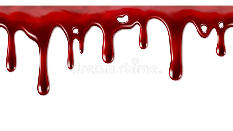 Dripping blood seamless repeatable. Seamlesly repeatable dripping blood flow down stock illustration