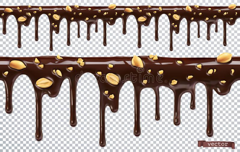 Dripping chocolate with peanut nuts. Melt drip. 3d vector, seamless pattern stock illustration