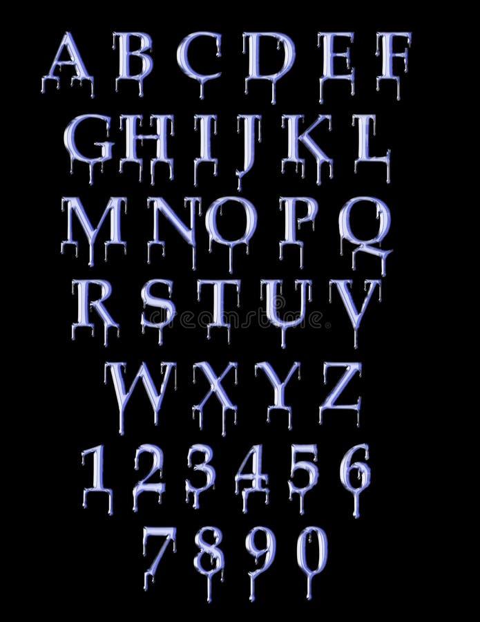 Dripping font. Alpha-numeric metallic dripping font royalty free illustration
