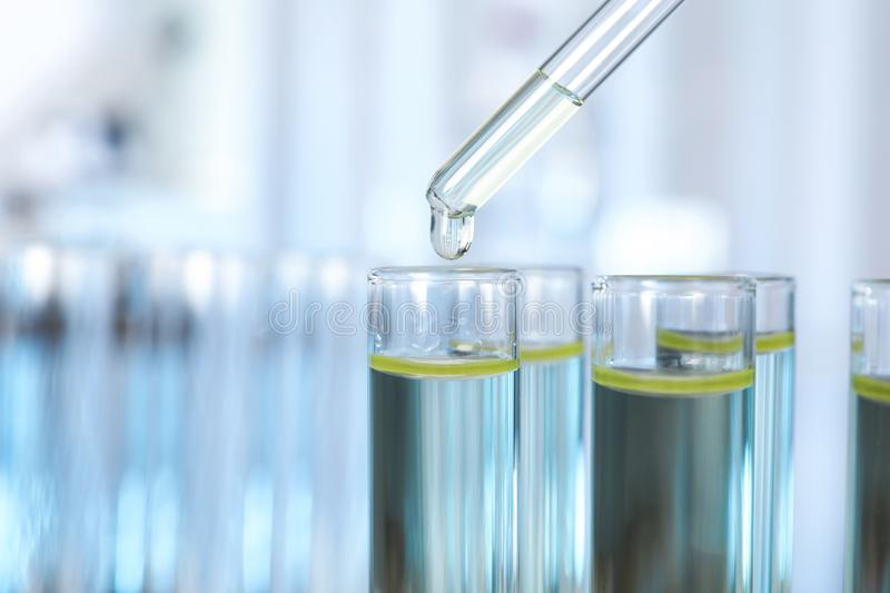 Dripping liquid into test tube on blurred background, closeup. Laboratory analysis stock image