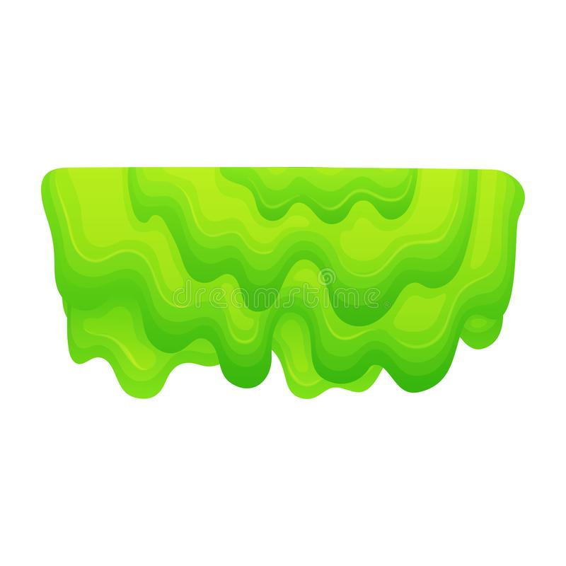 Dripping mass of green slime, cartoon blob of layered thick jelly substance with liquid sticky texture vector illustration