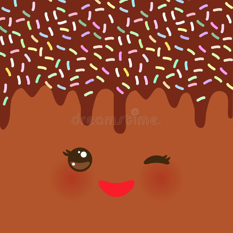 Dripping Melted chocolate Glaze with sprinkles. Kawaii cute face with eyes and smile. Brown background for your text. Vector stock illustration