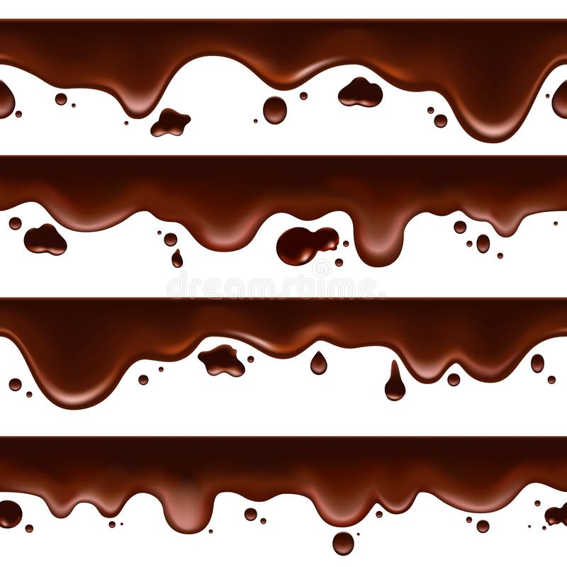 Dripping melted chocolate seamless banners stock illustration