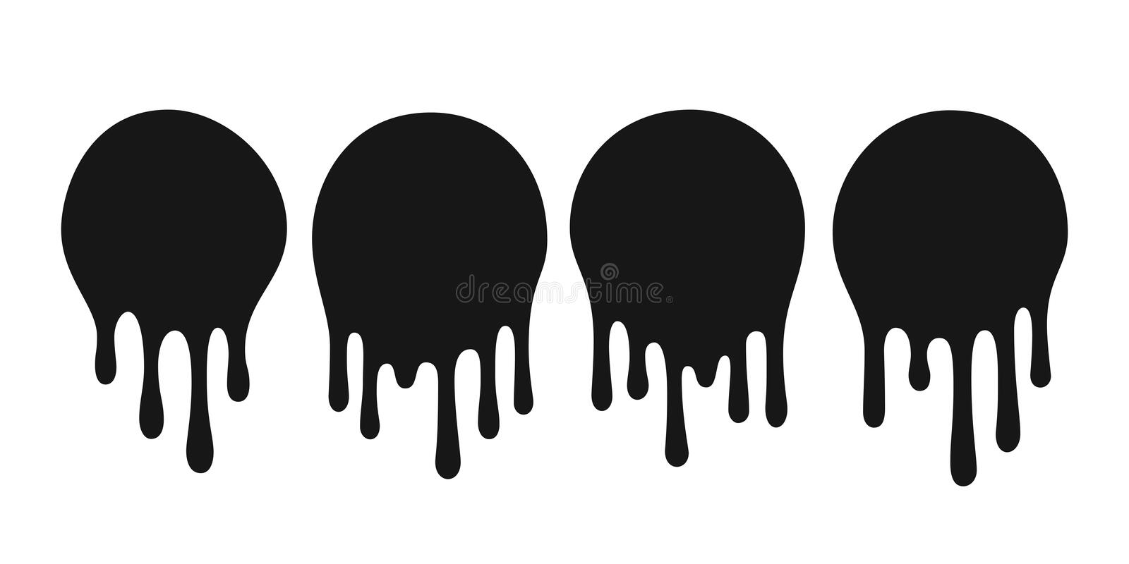 Dripping oil blob. Drip drop paint or sauce stain drips. Black drippings sauces round spots vector set royalty free illustration