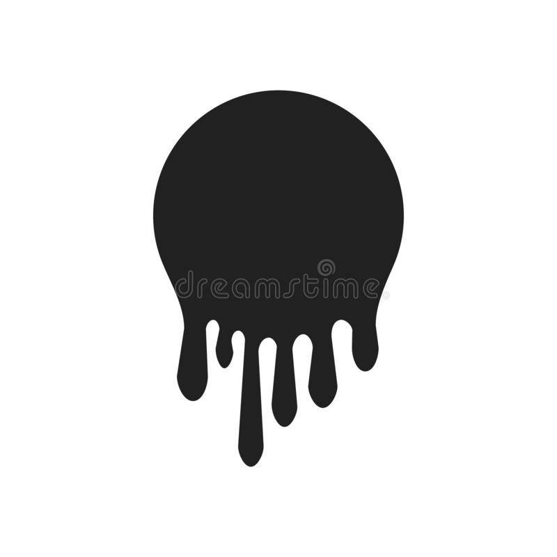 Dripping paint icon set. Current liquid. Paint flows. Melted circle logo. Current stains and inks. Vector illustration.  stock illustration