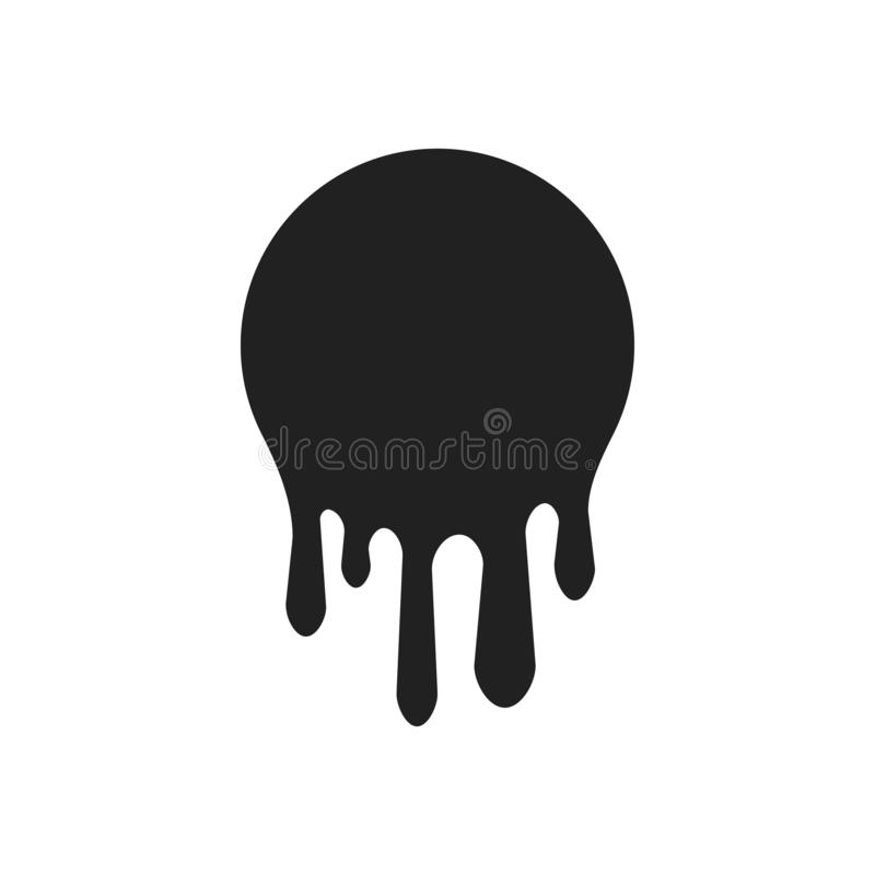 Dripping paint icon set. Current liquid. Paint flows. Melted circle logo. Current stains and inks. Vector illustration.  royalty free illustration