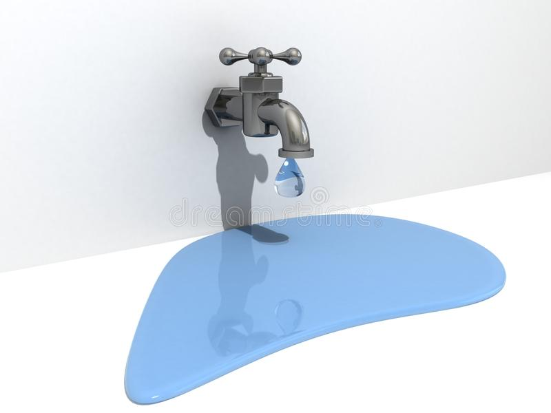 Dripping Taps With A Drop Of Water Stock Illustration - Illustration ...