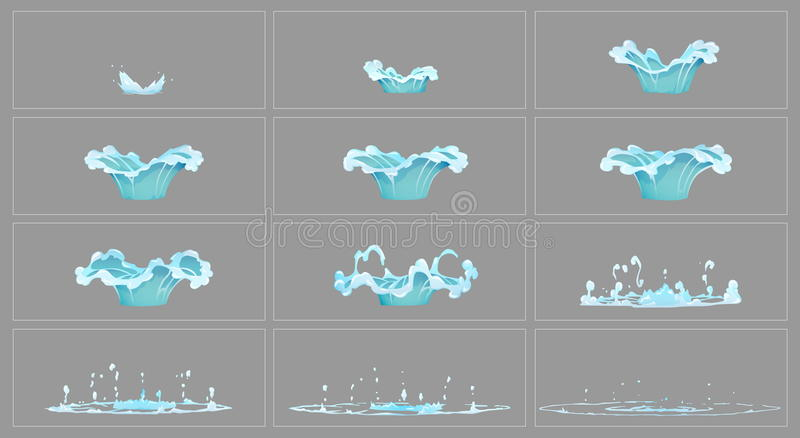 Dripping water special effect animation frames stock illustration