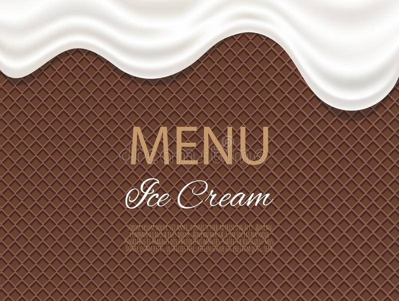 Dripping white ice cream flowing over waffle texture background. Cafe menu, food packaging design vector illustration