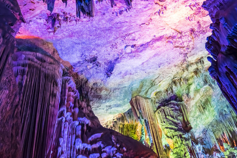 Dripstone cave (Reed flute cave) stock images