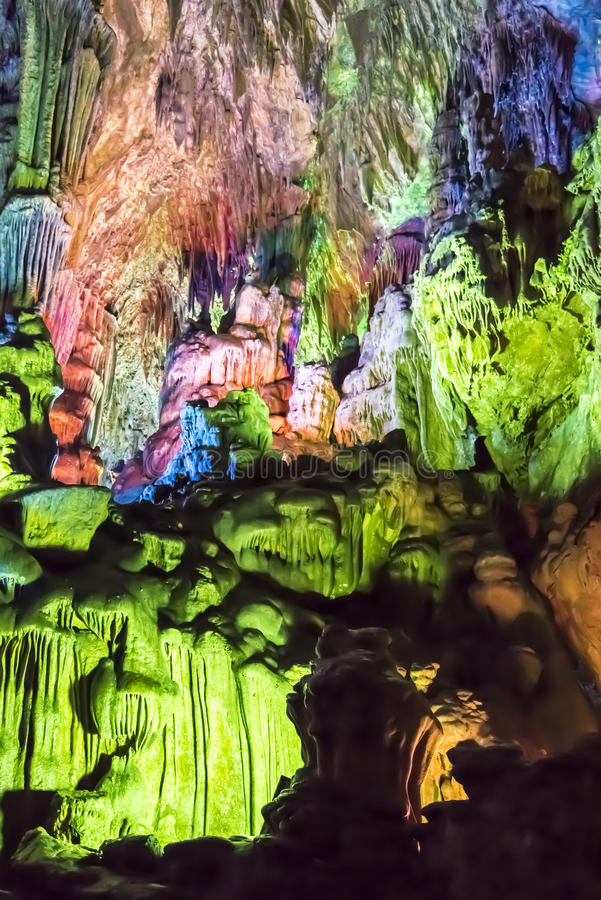 Dripstone cave (Reed flute cave) stock image