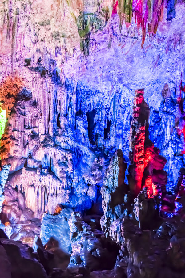 Dripstone cave (Reed flute cave) royalty free stock photo