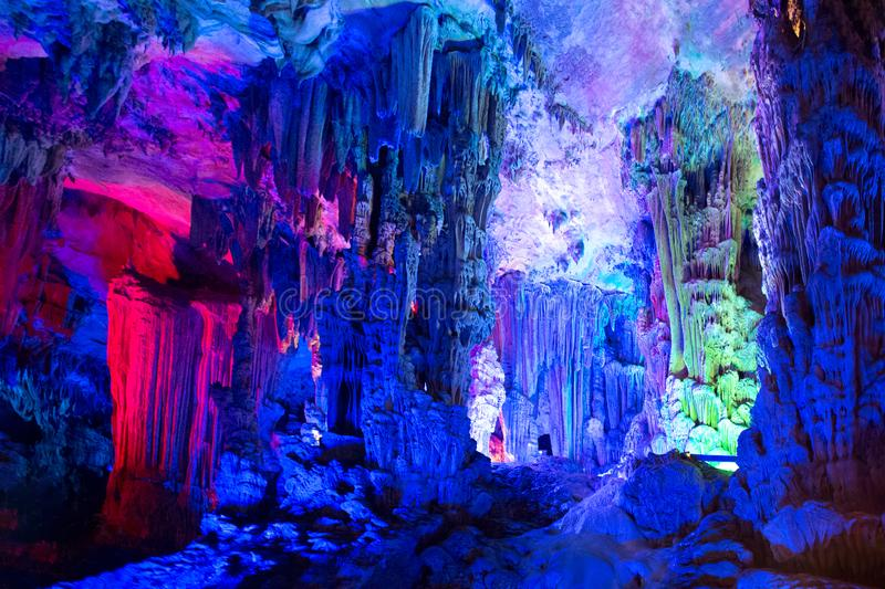 Dripstone cave, Reed Flute Cave, Guilin, Guangxi, China stock photo