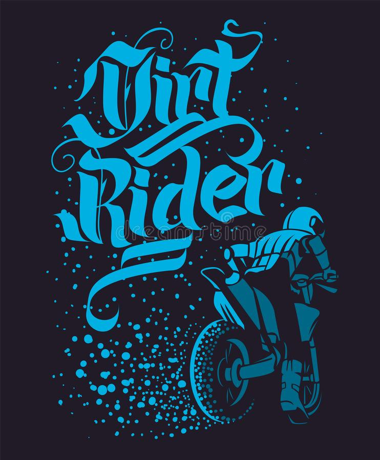 Drirt rider Motocross Freestyle design for apparel royalty free illustration