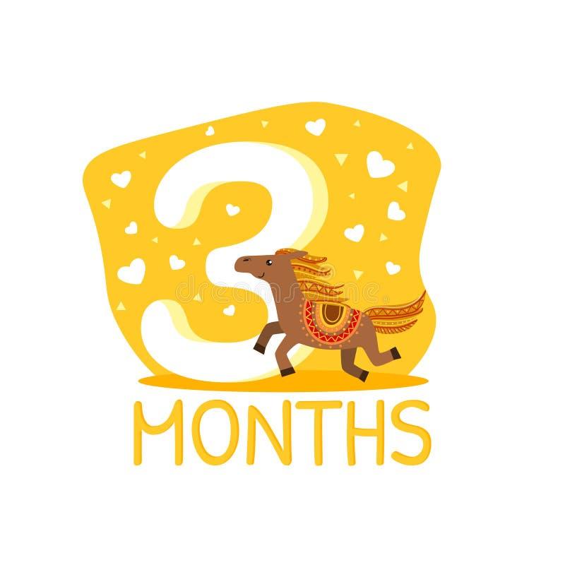 Dritte Monats-Geburtstags-Jahrestags-Zahl und nette ethnische kopierte Pferdetiervektor-Illustration lizenzfreie abbildung