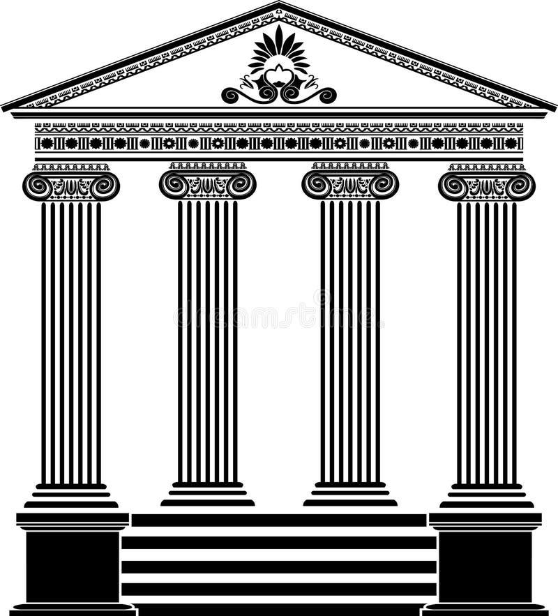 Dritte Variante der griechischen Tempelschablone lizenzfreie abbildung