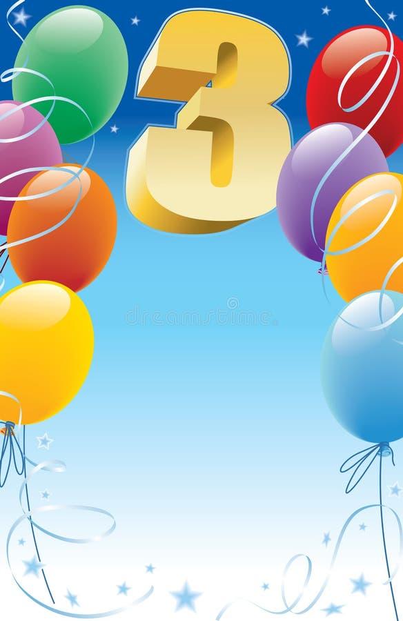 Dritter Geburtstag stock abbildung
