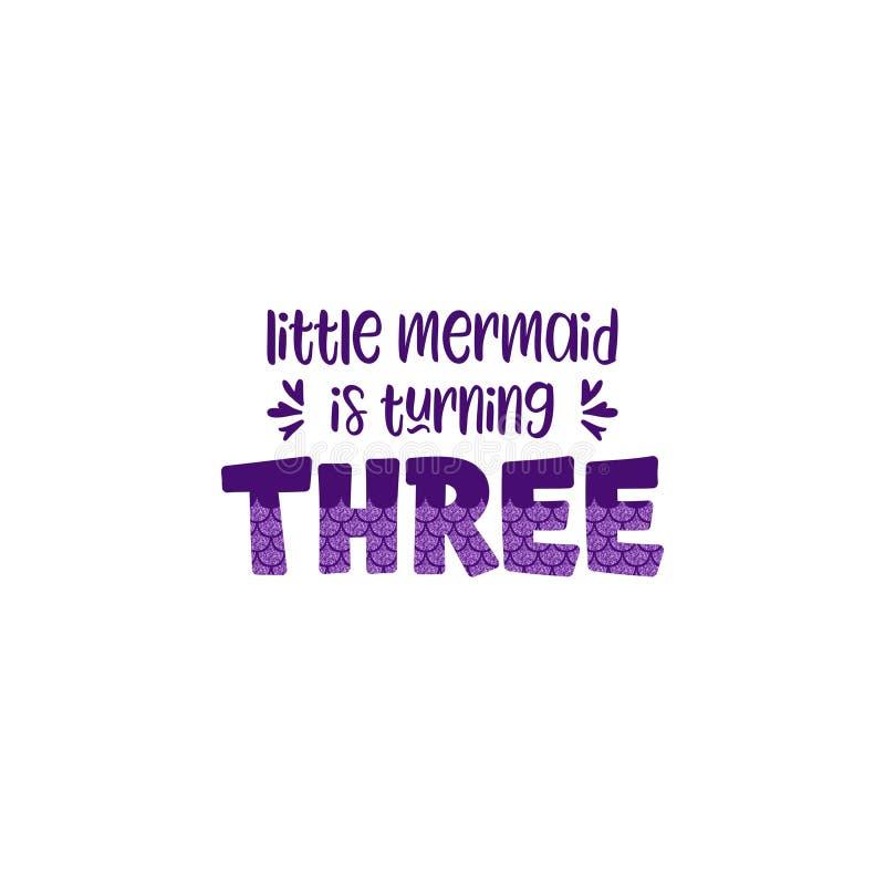 Dritter Geburtstag für wenig Mädchen mit Meerjungfrauskala-Vektorillustration stock abbildung