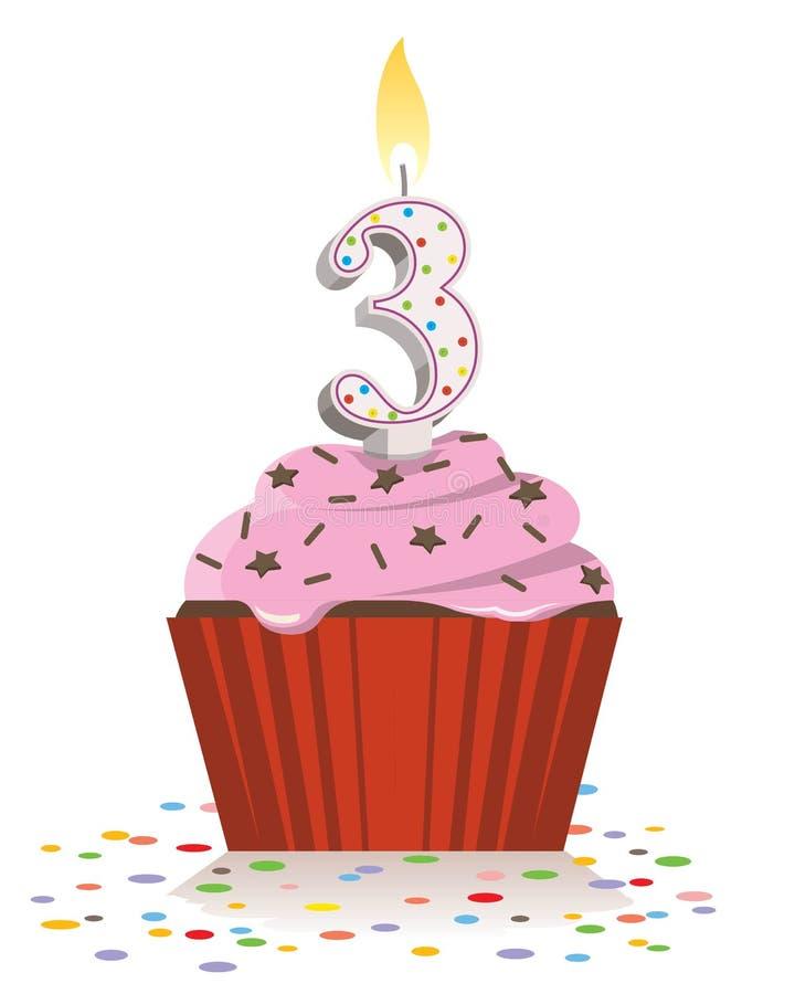 Dritter Geburtstagskleiner kuchen mit brennender Kerze in Form von Nr. drei lizenzfreie abbildung