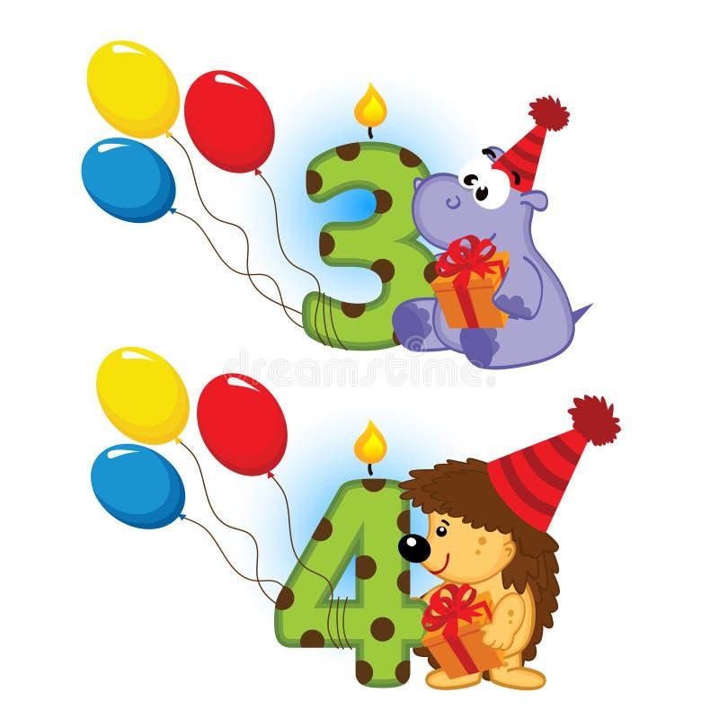 Dritter vierter Geburtstag mit Tier vektor abbildung