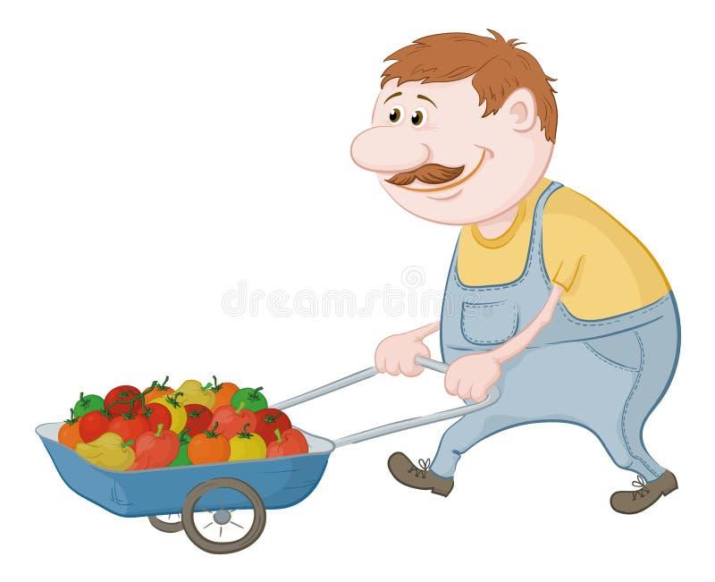drivande manlastbilgrönsaker stock illustrationer