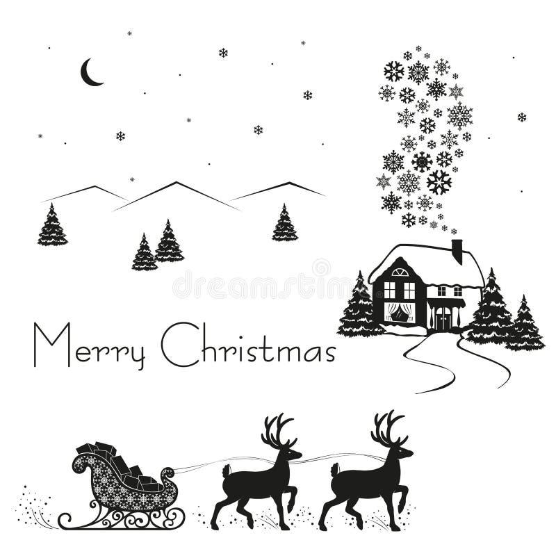 Drivande pulka för hjortar av Santa Claus med gåvor, svart kontur på vit snö, vektorillustration stock illustrationer
