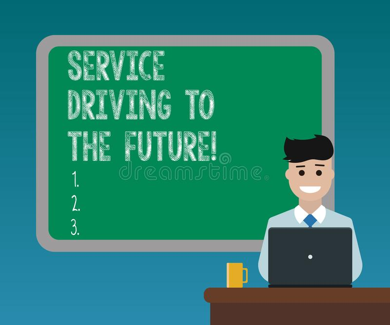 Drive υπηρεσιών γραψίματος κειμένων γραφής στο μέλλον Έννοια που σημαίνει το σύγχρονο κενό υπηρεσιών βοήθειας τεχνολογιών απεικόνιση αποθεμάτων
