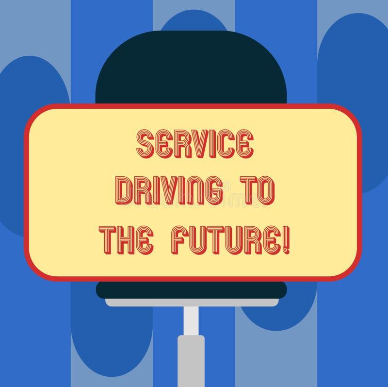 Drive υπηρεσιών κειμένων γραφής στο μέλλον Έννοια που σημαίνει τη σύγχρονη κενή ορθογώνια μορφή υπηρεσιών βοήθειας τεχνολογιών απεικόνιση αποθεμάτων
