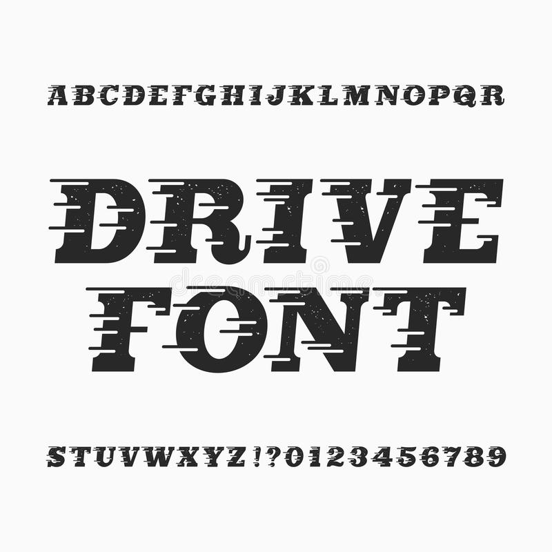 Drive alphabet vector font. Wind effect type letters and numbers. Vintage distressed vector typeface for your design royalty free illustration
