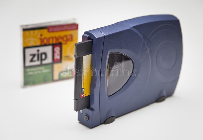 Iomega Zip 250 Drive and Disk stock photo