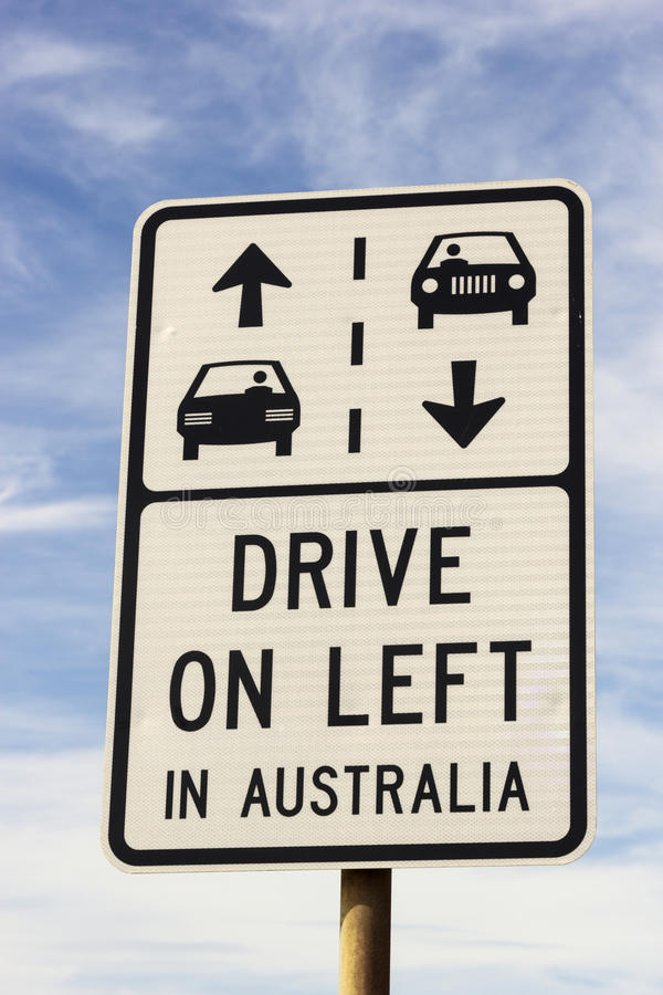 Drive on left in Australia sign royalty free stock images