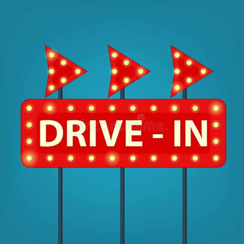 Drive in marquee sign. Retro vector illustration vector illustration