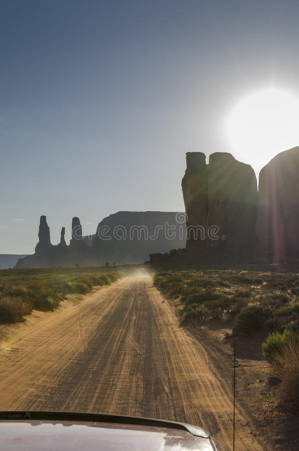 Drive in Monument Valley stock photography