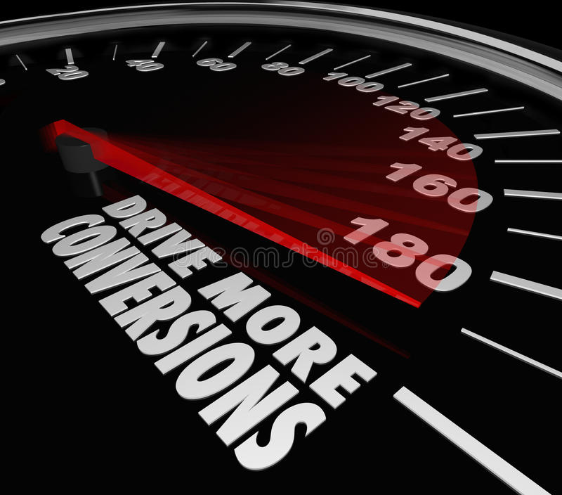 Drive More Conversions Words Speedometer Boost Increase Sales Pr. Drive More Conversions words on a black car speedometer to illustrate increasing sales of stock illustration