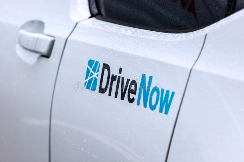 Drive now sign on a car in berlin germany royalty free stock images